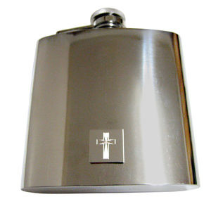 Etched Silver Toned Religious Cross 6oz Flask